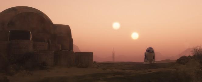 R2-D2 (o C1-P8 per i nostalgici della prima saga) attraversa il panorama di Tatooine in una scena di Guerre Stellari.