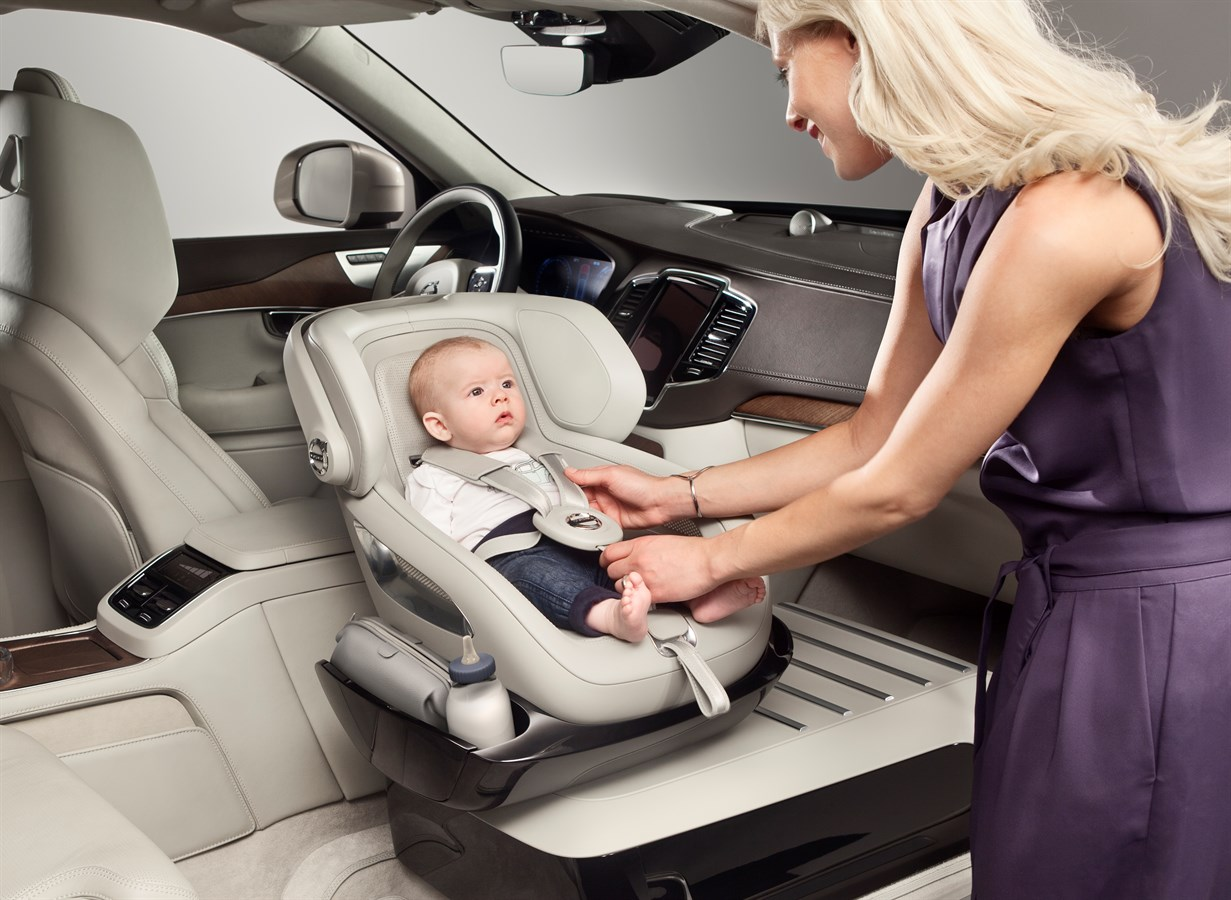 revolving chair for baby mid century patio chairs volvo cars adds a little luxury with excellence child safety seat concept car usa newsroom