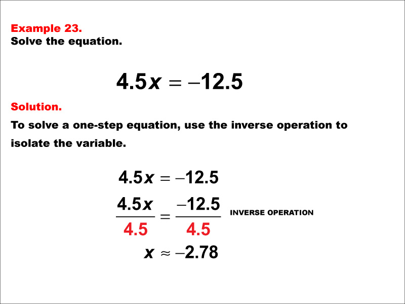 Math Example: Solving One-Step Equations: Example 23