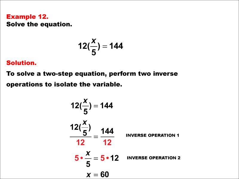 Math Example: Solving Two-Step Equations: Example 12