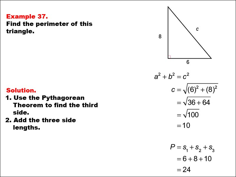Math Example: Area and Perimeter of Triangles: Example 37