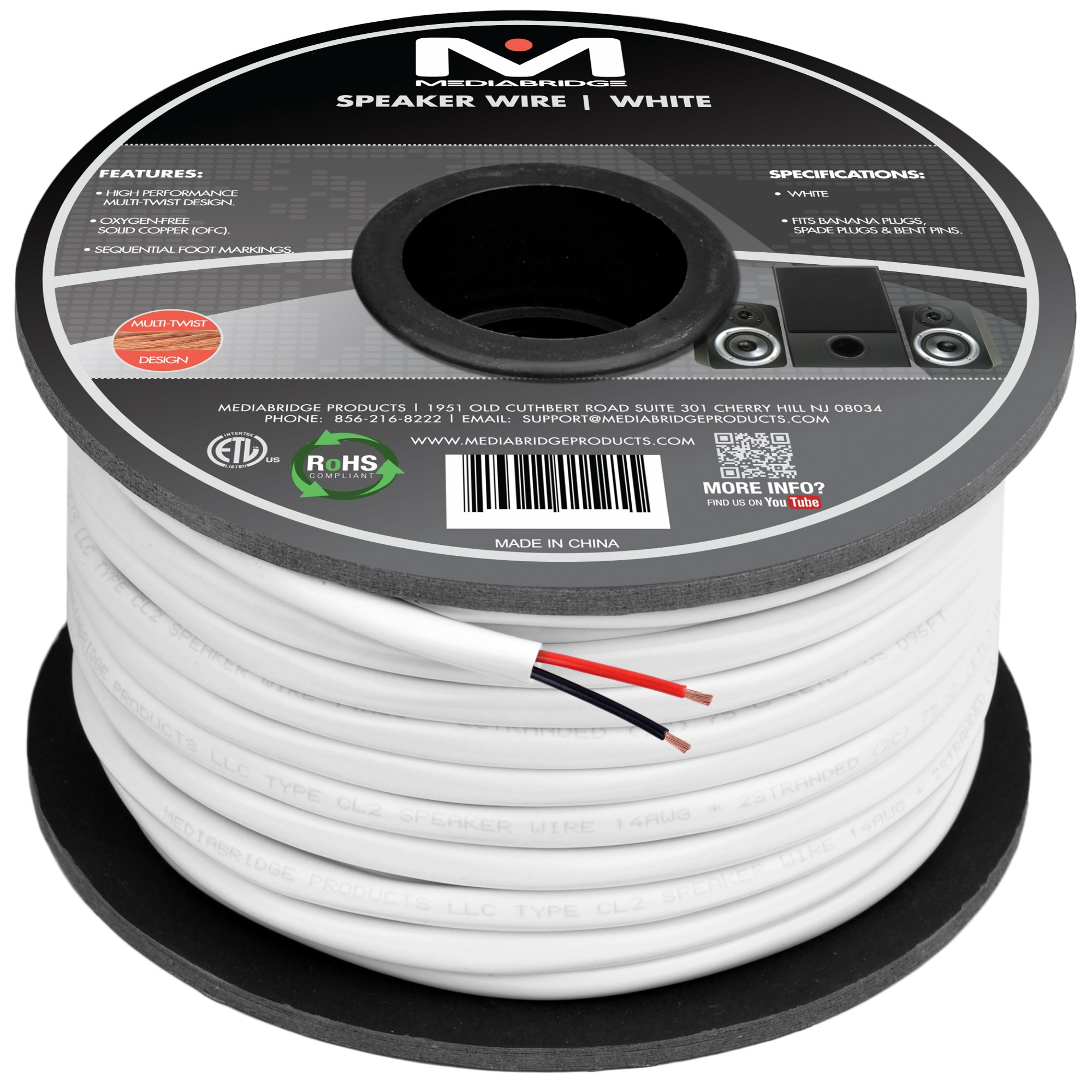 hight resolution of 2 conductor speaker wire 99 oxygen free copper etl listed cl2 rated for in wall use 14 gauge 100 feet