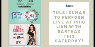 image-Tulsi Kumar to perform live at Ishq Jam with Sarthak this Saturday Mediabrief