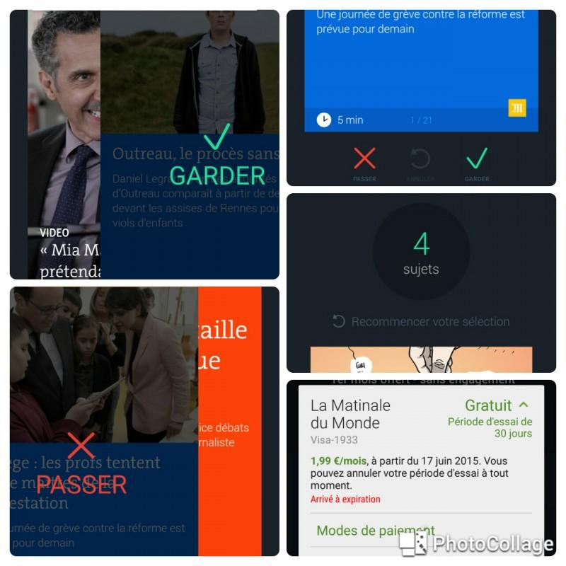 Cinq captures d'écran pour résumer l'application La Matinale du Monde