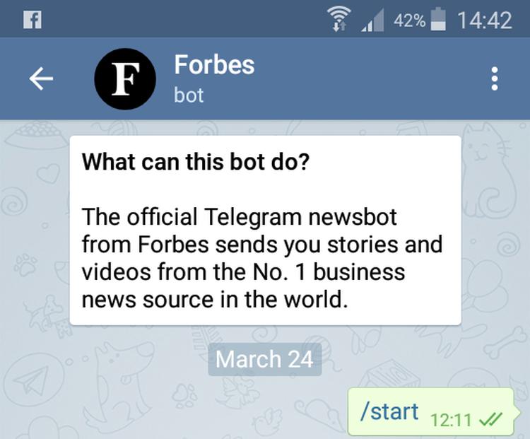 Forbes Bot, premier écran