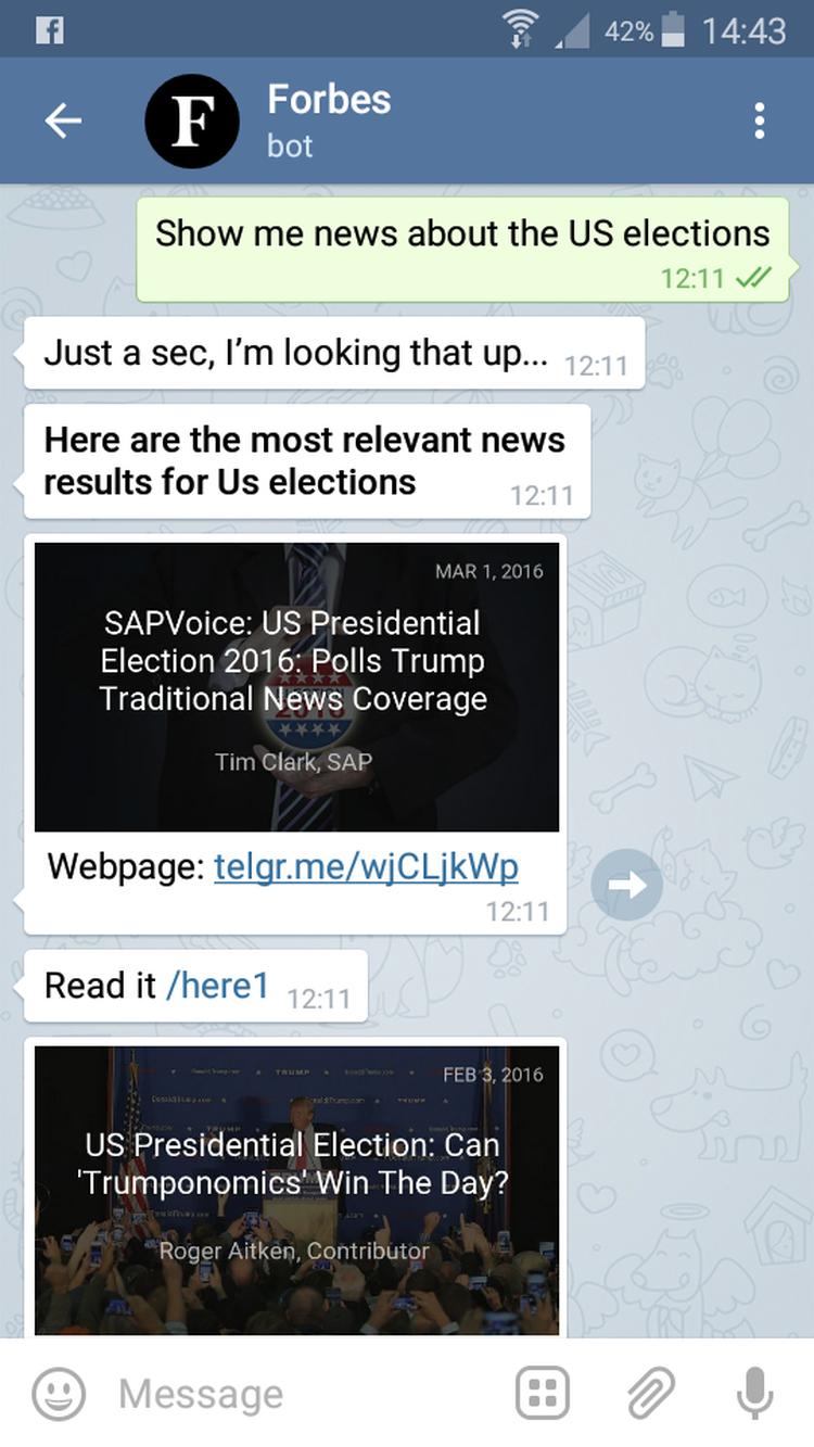 Forbes Bot, écran 2