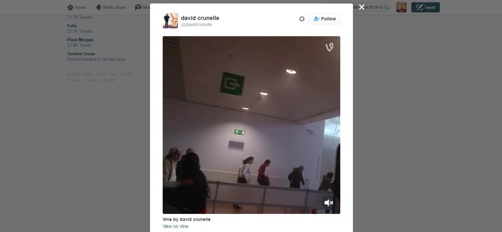 Capture d'écran de l'extrait vidéo posté sur Vine et Twitter par David Crunelle le 22 mars.