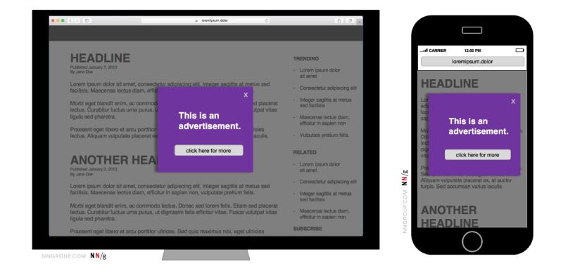 """Le Nielsen Norman Group a mené une étude sur les différents formats de la pub en ligne (ci-dessus les """"modals"""") et leur perception par les utilisateurs."""