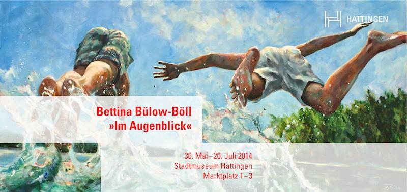 """Einladungskarte zur Ausstellung """"Im Augenblick"""" von Bettina Bülow-Böll im Stadtmuseum Hattingen, Vorderseite"""