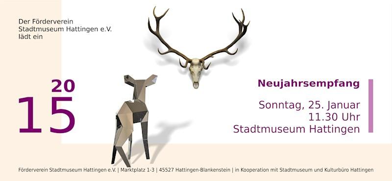 Karte Neujahrsempfang 2015 im Stadtmuseum Hattingen, Vorderseite