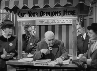 Residences of Grandview discuss whether they would vote for a female presidential candidate in the 1947 film Magic Town