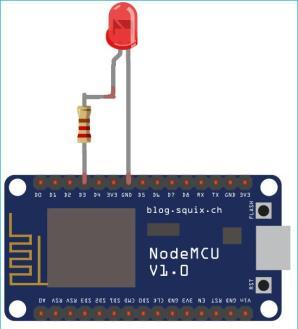 sơ đồ mạch kết nới NodeMCU ESP8266 với LED