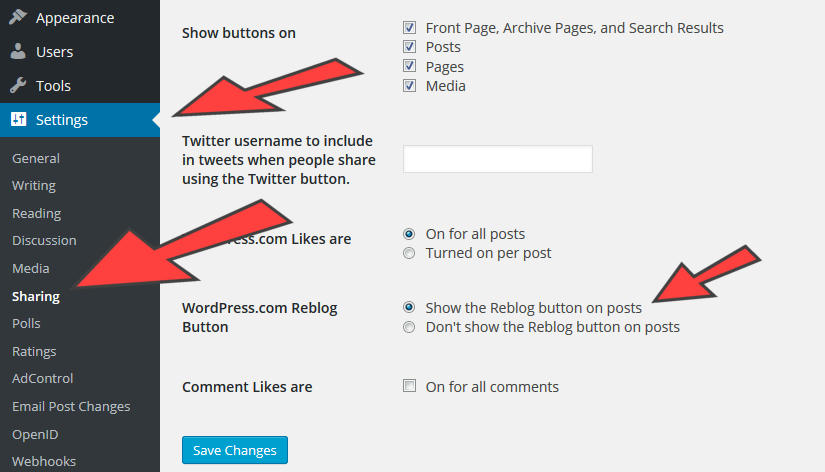 How to enable the reblog button on posts instructions pic