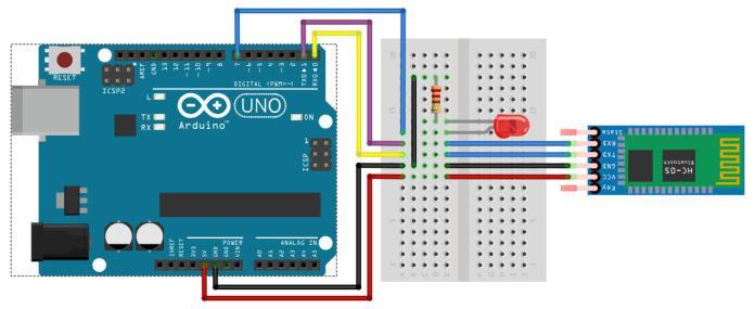 Sơ đồ kết nối arduino với module bluetooth