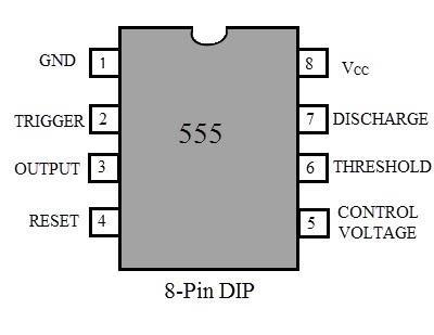 Sơ đồ chân IC định thời 555