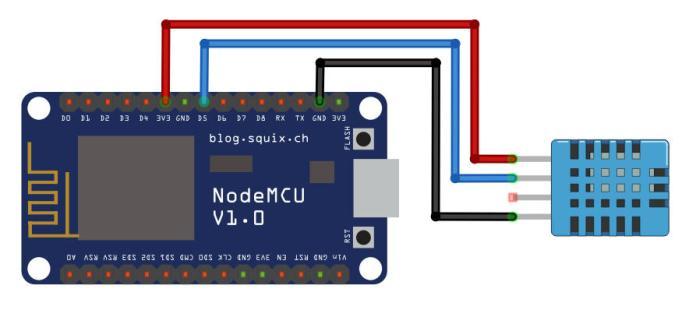 Sơ đồ kết nối NodeMCU với DHT11