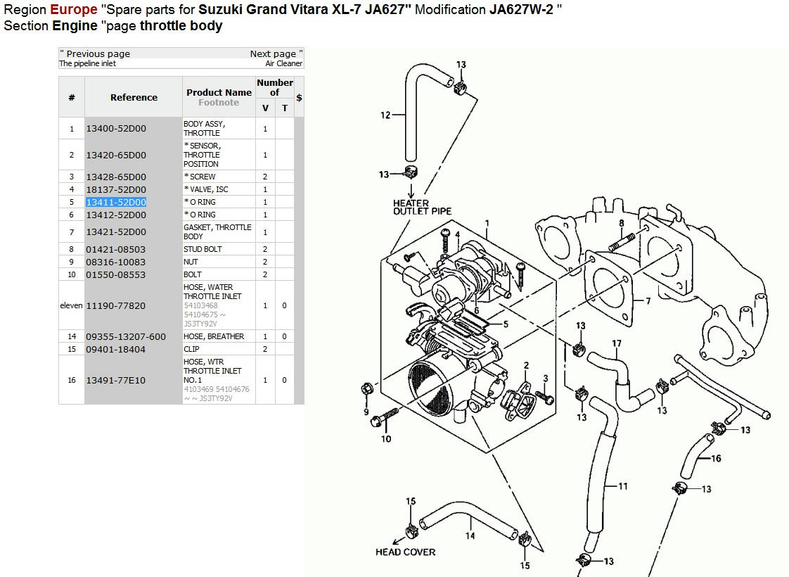 Where To Find Throttle Body Interior Gasket
