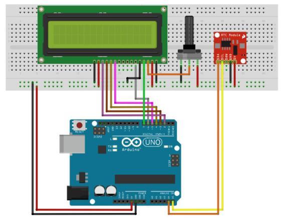 Hiển thị thời gian thực lên LCD dùng DS1307 và Arduino