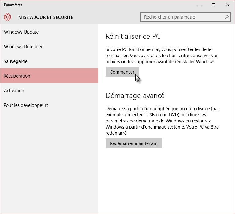 windows 10 actualiser ou