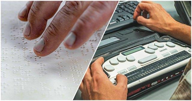 Alfabeto braille classico e lettore digitale per il braille