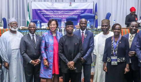 VP Osinbajo delcares open the 8th Commonwealth Regional Conference for Heads of Anti – Corruption Agencies in Africa. 14th May, 2018