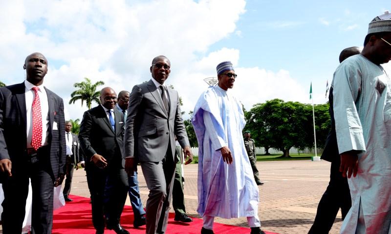 President Muhammadu Buhari receives the President Republic of Benin, H.E Patrice Talon at the State House, Abuja. photo; Sunday Aghaeze. JULY 25 2018