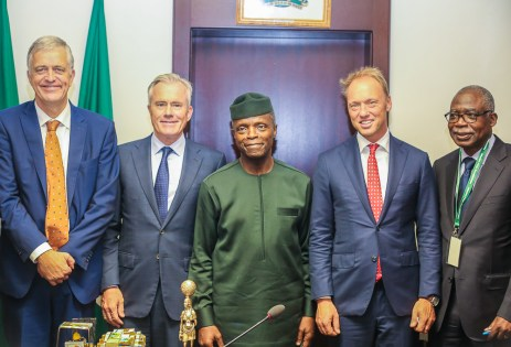 VP Osinbajo receives in audience a delegation of Royal FrieslandCampina from Netherlands.