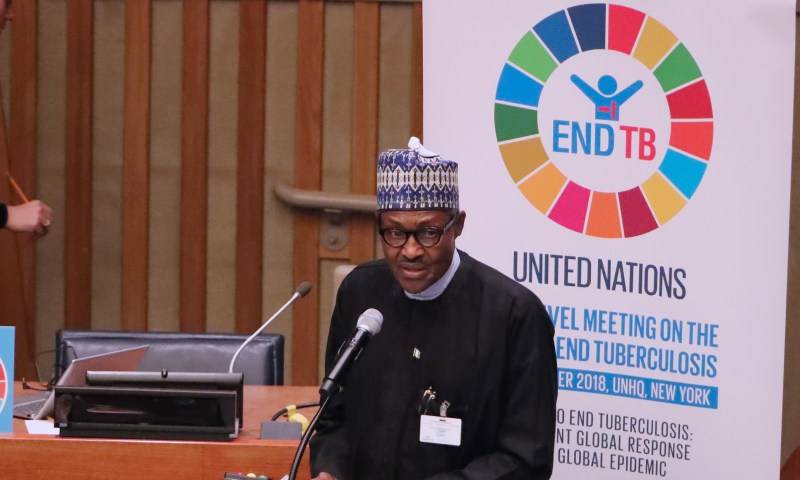 PRESIDENT BUHARI SPEAKS AT A MEETING TO END TB CAMPAIGN.