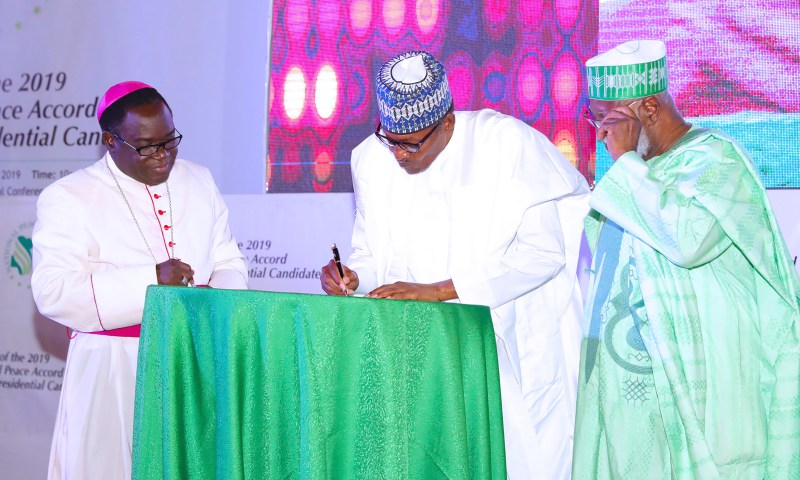PRESIDENT BUHARI SIGNS SECOND PEACE ACCORD FOR THE CONDUCT OF 2019 GEN ELECTION. FEB 13 2019