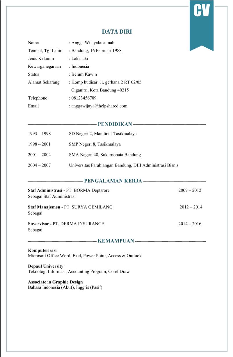 Contoh CV Lamaran Kerja yang Menarik Agar Diterima