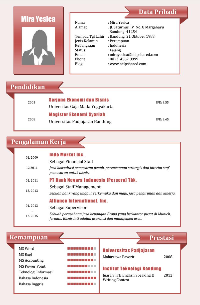 Contoh Resume Untuk Melamar Pekerjaan - Contoh O