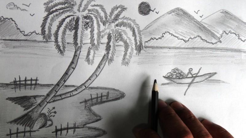 Pemandangan Pantai Menggunakan Pensil