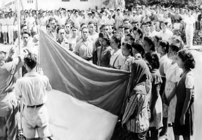 Bendera merah putih Dipotong
