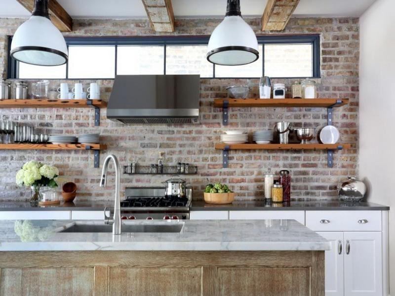 Dapur dinding bata putih