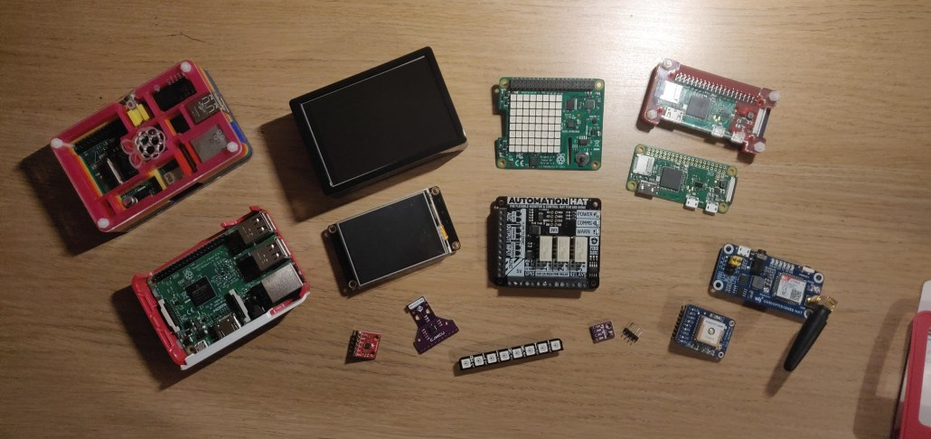 Raspberry Pi hardware and sensors.