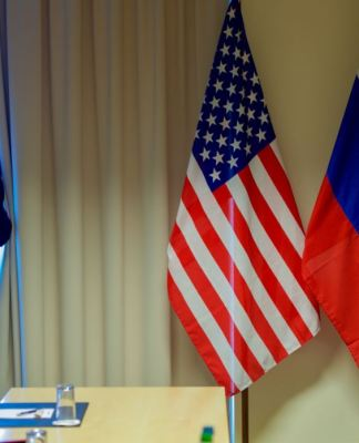 Russian and United States flags
