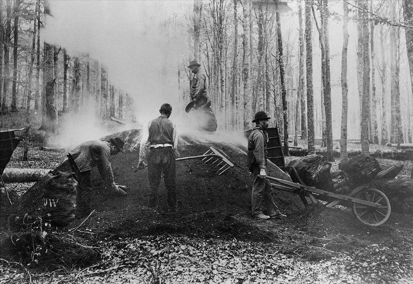 Mise à feu de la meule de charbon de bois