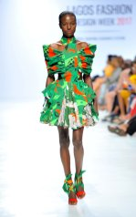 Model wearing a piece from the Africa Inspired Fashion by Heineken at the Heineken Lagos Fashion And Design Week 2017