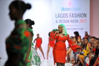 Tiwa Savage performing during the presentaion of the Africa Inspired Fashion by Heineken at the Heineken Lagos Fashion and Design Week 2017
