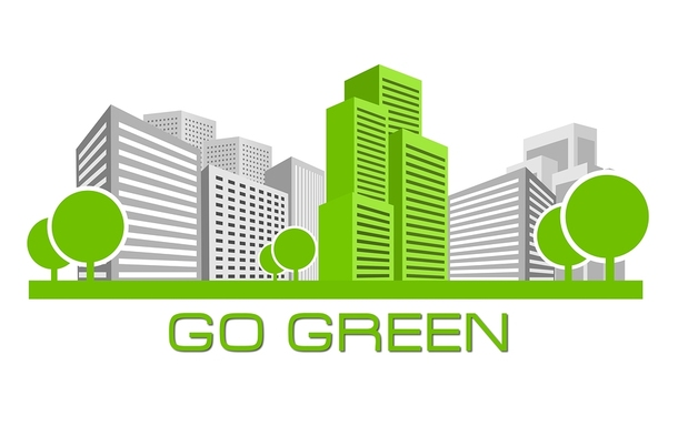 City illustration with skyscrapers and the words go green on the bottom.