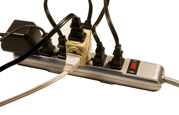 Surge protector with multiple plugs.