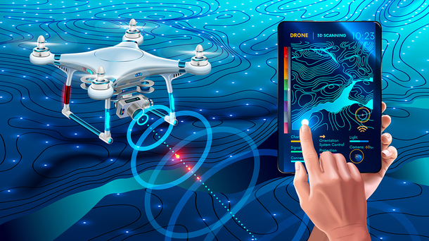 Graphic drawing of a drone and a tablet for controlling it.
