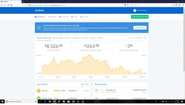 Coinbase page showing bitcoin price.