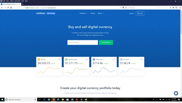 Coinbase page to buy and sell digital currency.