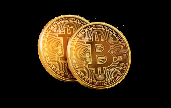 Two Gold bitcoin coins.