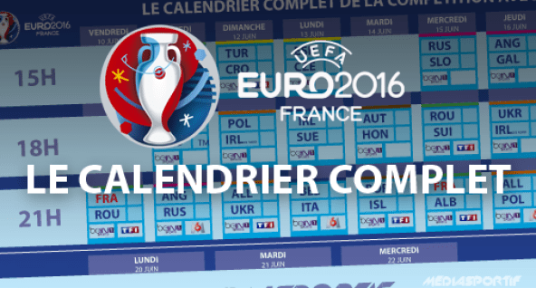 Calendrier complet euro