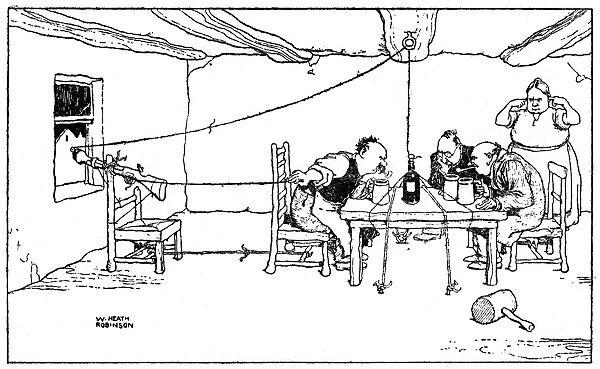 Drawing the cork, illustration by William Heath Robinson