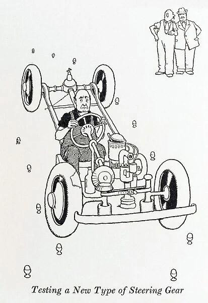 Testing a new type of steering gear / W Heath Robinson