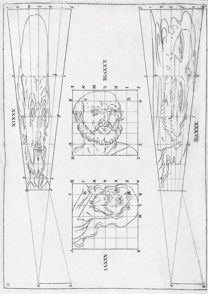 Perspective diagrams, 17th century. These diagrams
