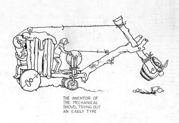 Early type of mechanical shovel by Heath Robinson